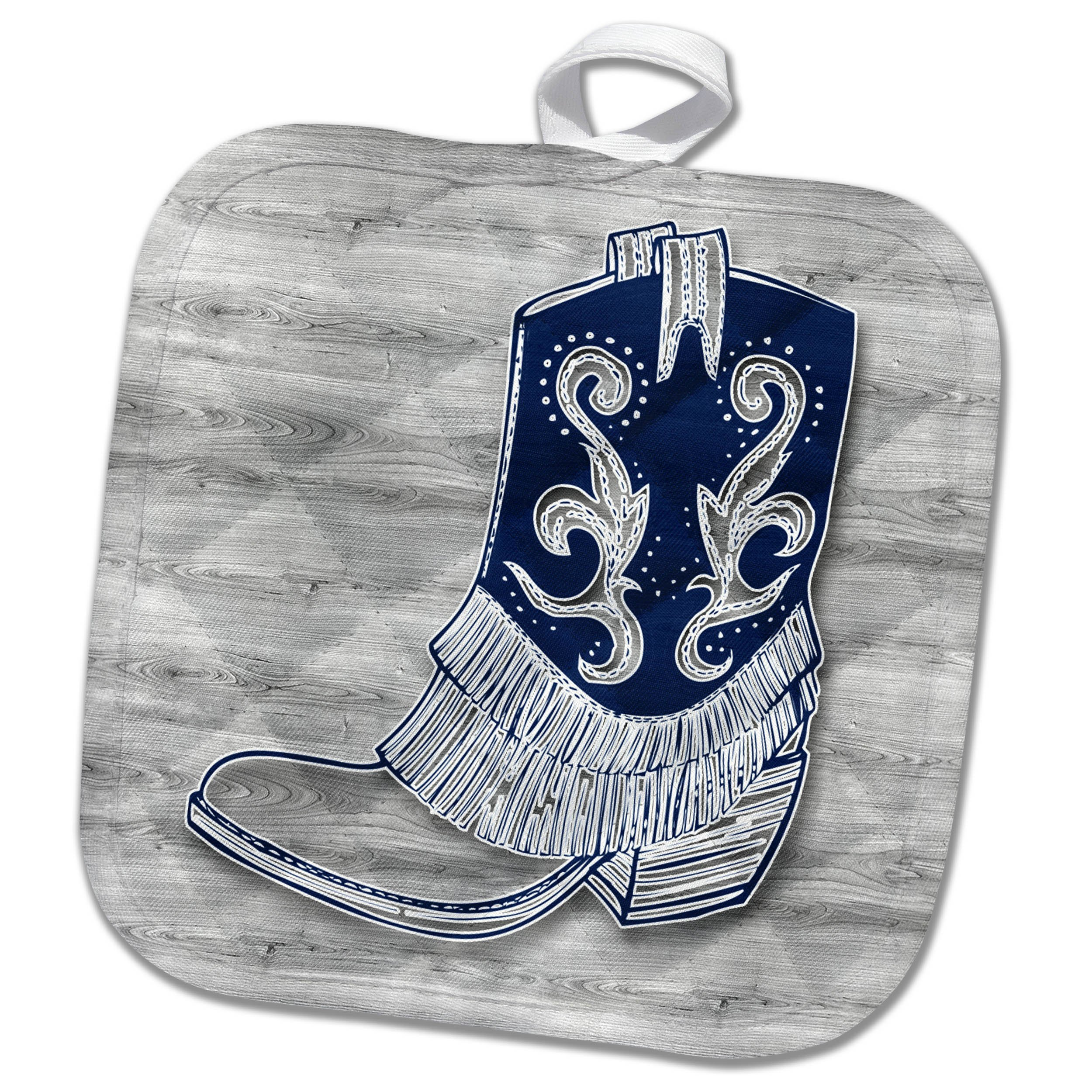 3dRose phl_264570_1 1 Pot Holder Cowboy Or Cowgirl Boot in Blue and Gray Wood Patterns Western Styling, 8 by 8''