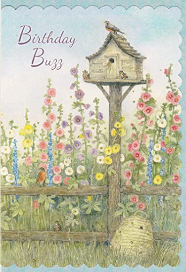 Happy Birthday Greeting Card W Bible Scripture Birdhouse Hollyhock 1 Single