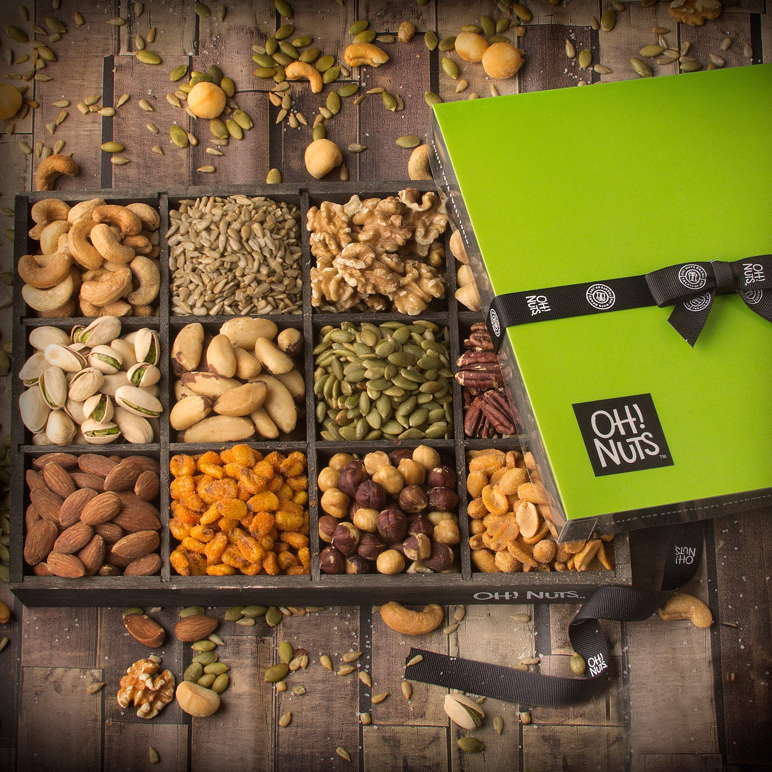 Oh! Nuts 12 Variety Mixed Nut Gift Basket, Holiday Freshly Roasted Healthy Gourmet Snack Gifts| Premium Wood Tray | Prime Christmas Food Baskets for Men & Women, Fathers & Mother's Day Unique Idea by Oh! Nuts (Image #4)