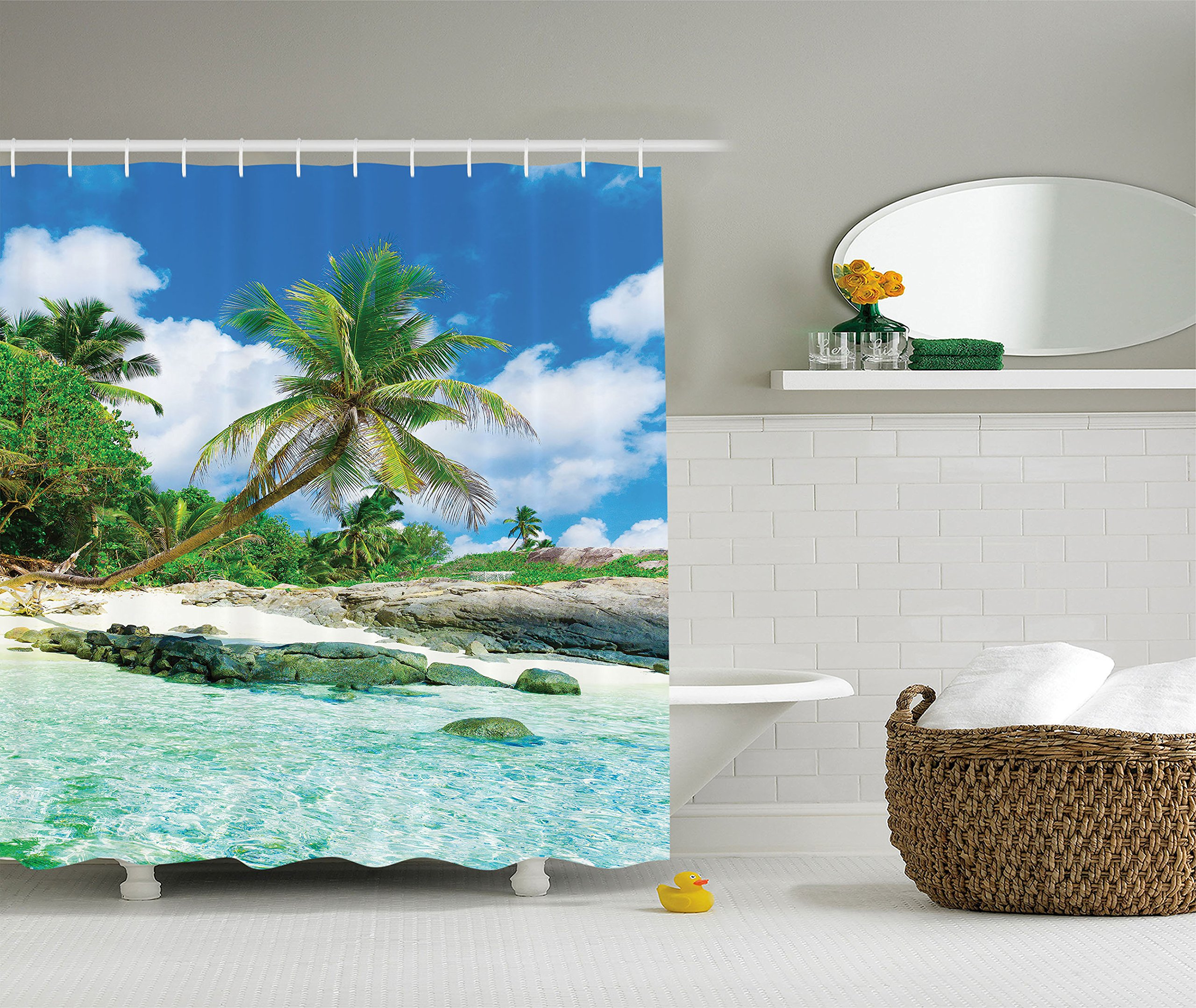 Ambesonne Seaside Decor Collection, Scene Rocks Palms shades jungle honeymoon islands remote resort leisure, Polyester Fabric Bathroom Shower Curtain, 84 Inches Extra Long, Teal Green Blue