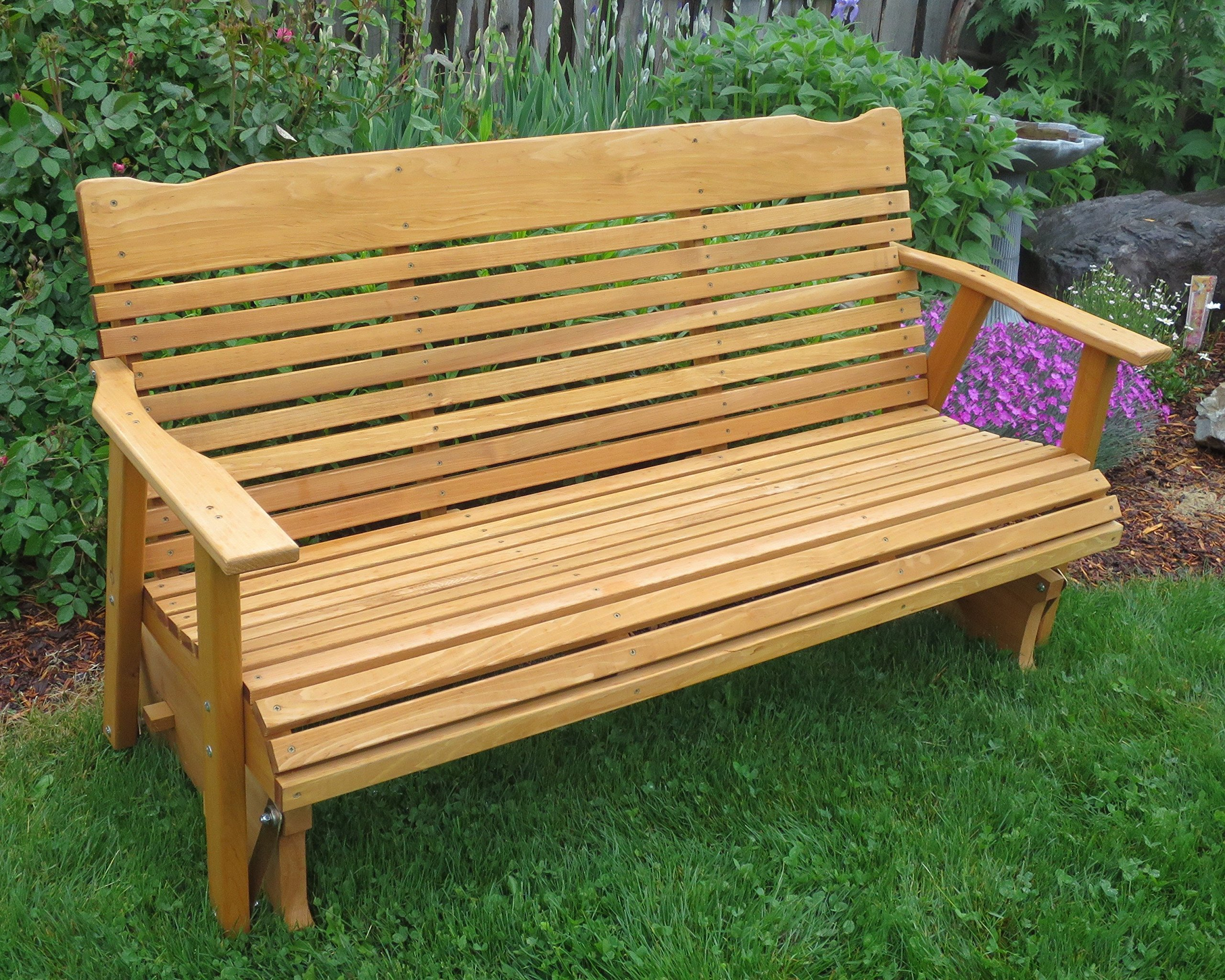 5' Cedar Porch Glider W/stained Finish, Amish Crafted by Kilmer Creek