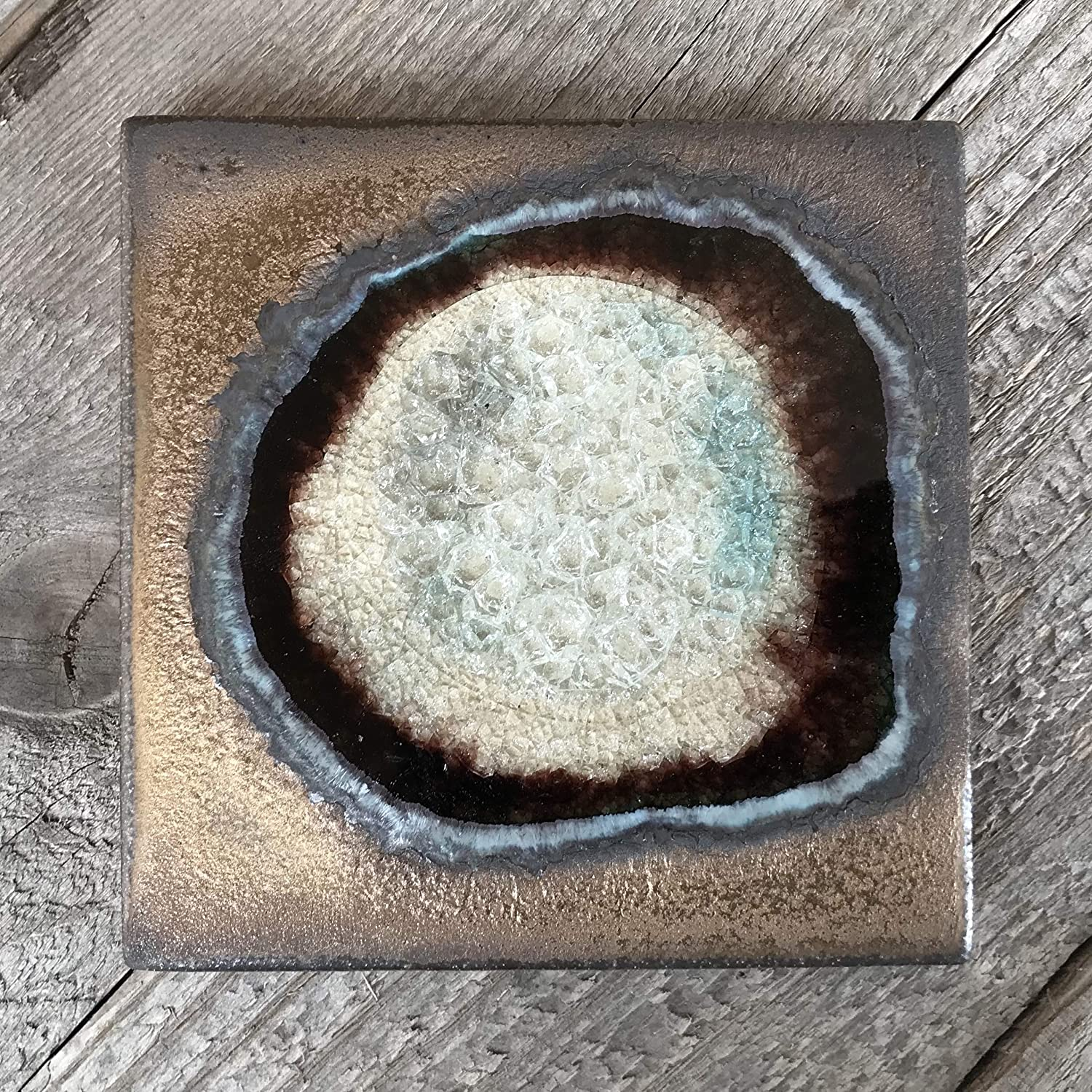Geode Crackle Coaster in BRONZE: Individual Coaster, Geode Coaster, Agate Coaster, Fused Glass Coaster, Crackle Glass Coaster, Dock 6 Pottery Coaster, Dock 6 Pottery, Kerry Brooks Pottery