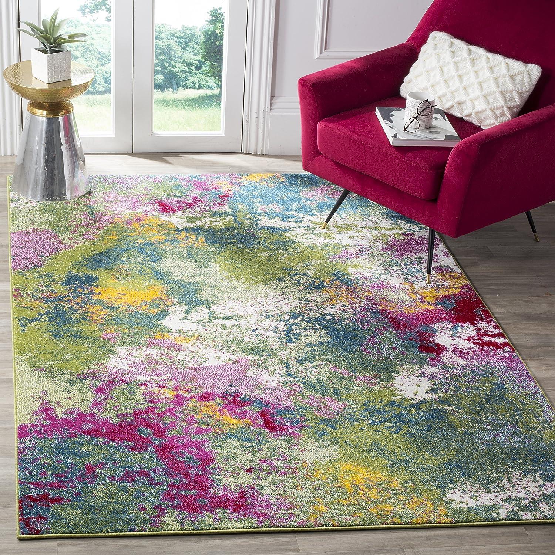 Safavieh Watercolor Collection Wtc697c Colorful Boho Abstract Area Rug 9 X 12 Green Fuchsia Furniture Decor Amazon Com