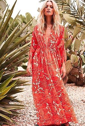 preview of exclusive deals stable quality Amenapih Robe Longue vaporeuse Rose Fleuri: Amazon.fr ...