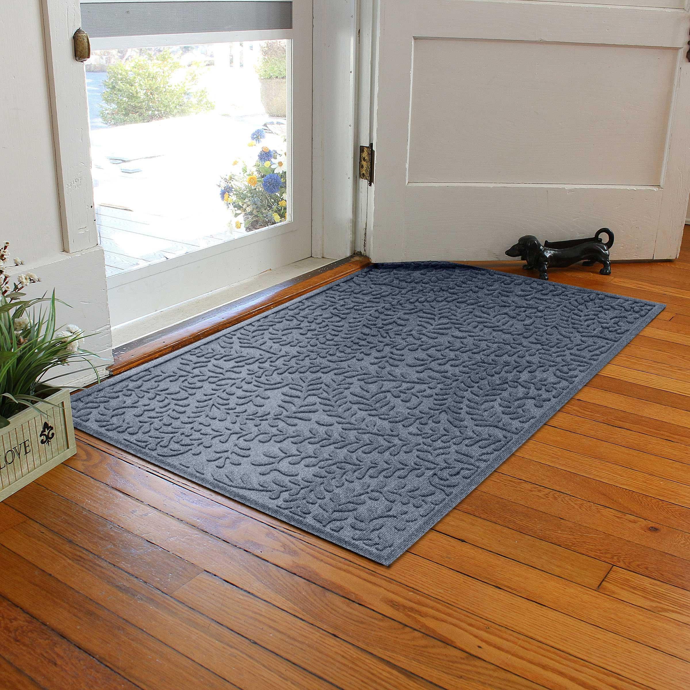 Bungalow Flooring Waterhog Indoor/Outdoor Doormat, 3' x 5', Skid Resistant, Easy to Clean, Catches Water and Debris, Boxwood Collection, Bluestone by Bungalow Flooring (Image #4)