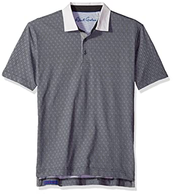 5a606deb Amazon.com: Robert Graham Men's Osaka Short Sleeve Pima Cotton Knit Polo,  Charcoal Medium: Clothing
