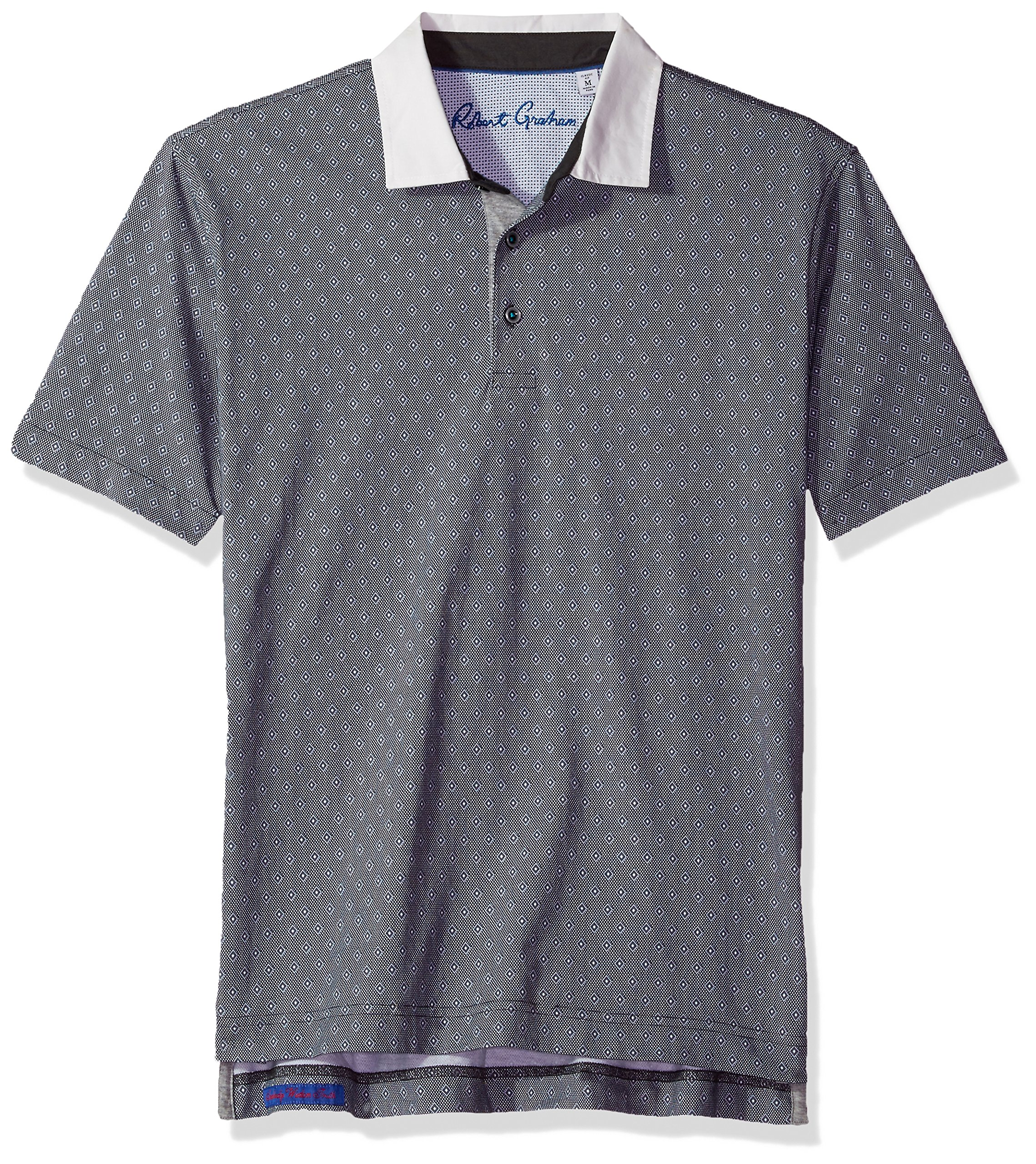 Robert Graham Men's Osaka Short Sleeve Pima Cotton Knit Polo, Charcoal, 3XLARGE
