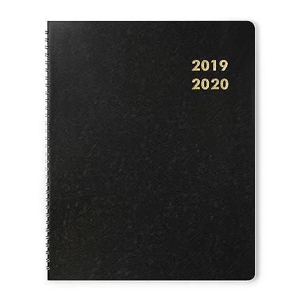 Planificador mensual académico 2019-2020, planificador anual Dexmon, doble alambre redondeado de 8.5 x 11 pulgadas, grande, negro