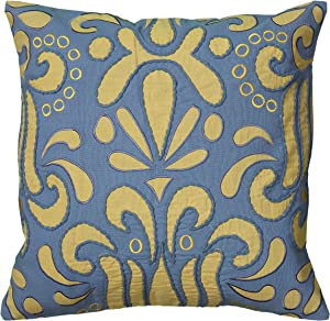 Rizzy Home T06115 Applique and Embroidery Details Decorative Pillow, 18 by 18-Inch, Blue