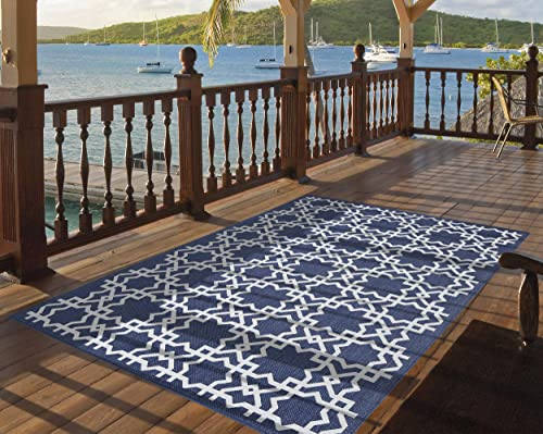 PRIYATE Florida Collection Trellis Tile Indoor Outdoor Area Rug All Weather Premium Quality Large Floor Carpet for Bedroom, Living Room, Dining Room, Patio and More Navy Blue 7 10 X 10