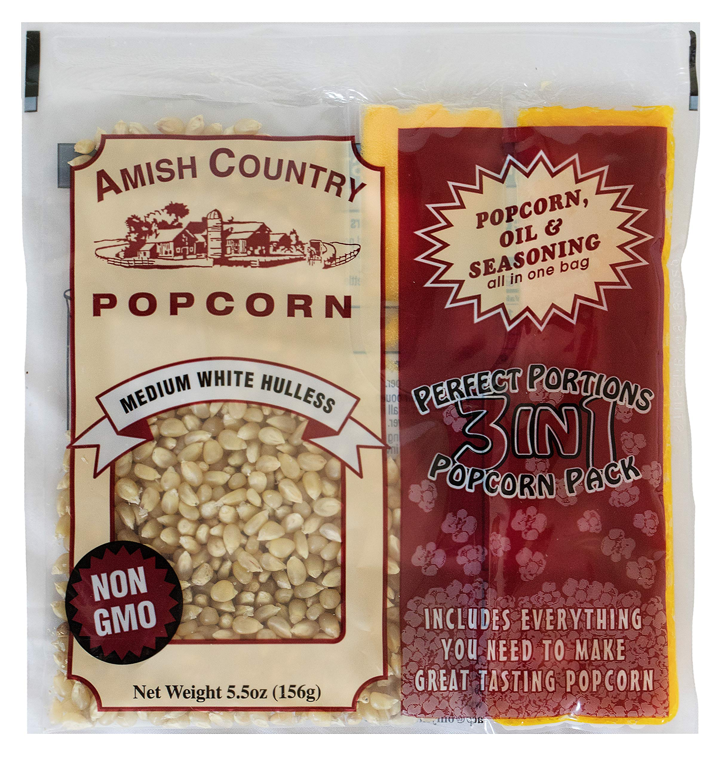 Amish Country Popcorn - (12) 4 Ounce Popcorn Portion Packs of Medium White Popcorn with Oil & Salt - 12 Per Case - Old Fashioned with Recipe Guide