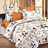 Story @ Home Metro Mercerized Collection 182 TC Cotton Printed 1 Double Bedsheet and 2 Pillow Covers Set - Floral, White