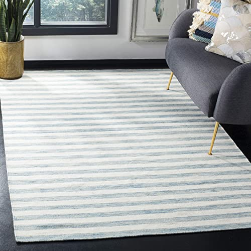 Safavieh Dhurries Collection DHU575C Hand Woven Aqua and Ivory Premium Wool Area Rug 5 x 8