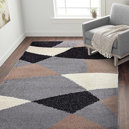 Rugshop Cozy Shag Modern Geometric Shapes Area Rug 7' 10″ x 10' Beige