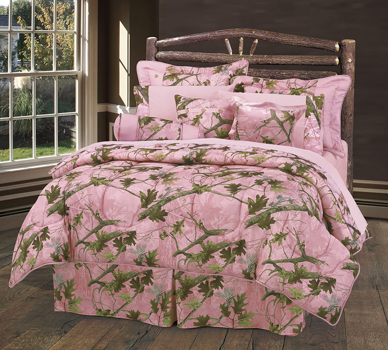 HiEnd Accents Oak Camo Sheet Set, Full, Pink
