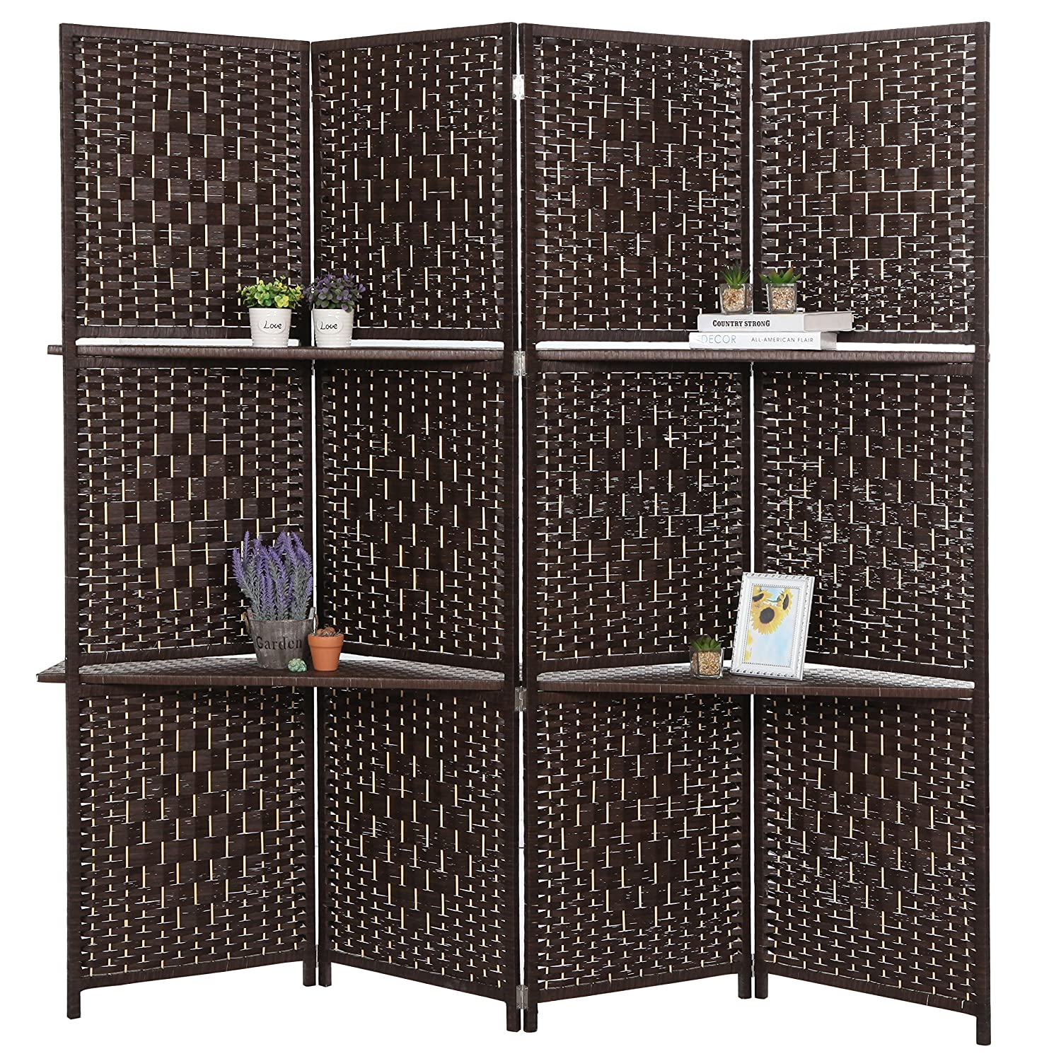 Amazon.com: Dark Brown Wood 4 Panel Paper Rope Woven Screen ...