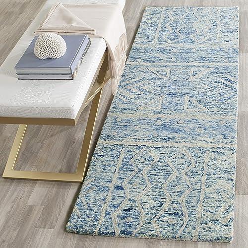 Safavieh Chatham Collection CHT764B Handmade Blue and Ivory Premium Wool Runner 2 3 x 7