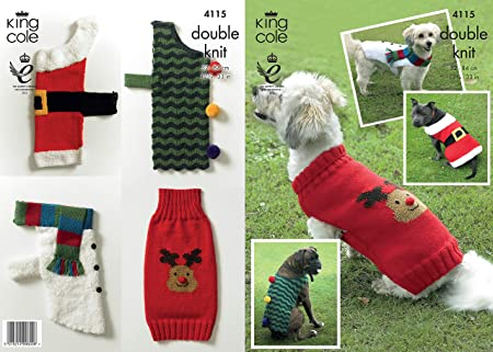 King Cole 4115 Knitting Pattern Christmas Dog Coats Knit In King