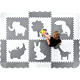 "Wee Giggles Extra Large Baby Play Mat (61"" x 85""). Thick, Non Toxic Gender Neutral Nursery Foam Floor Tiles (Grey & White)"