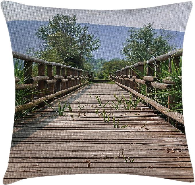 THIBAUT \u201cPeacock Garden\u201d in aqua and beige pillow cover