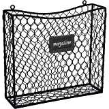 Country Rustic Black Metal Wire Wall Mounted Magazine, File & Mail Holder Basket w/ Chalkboard Label