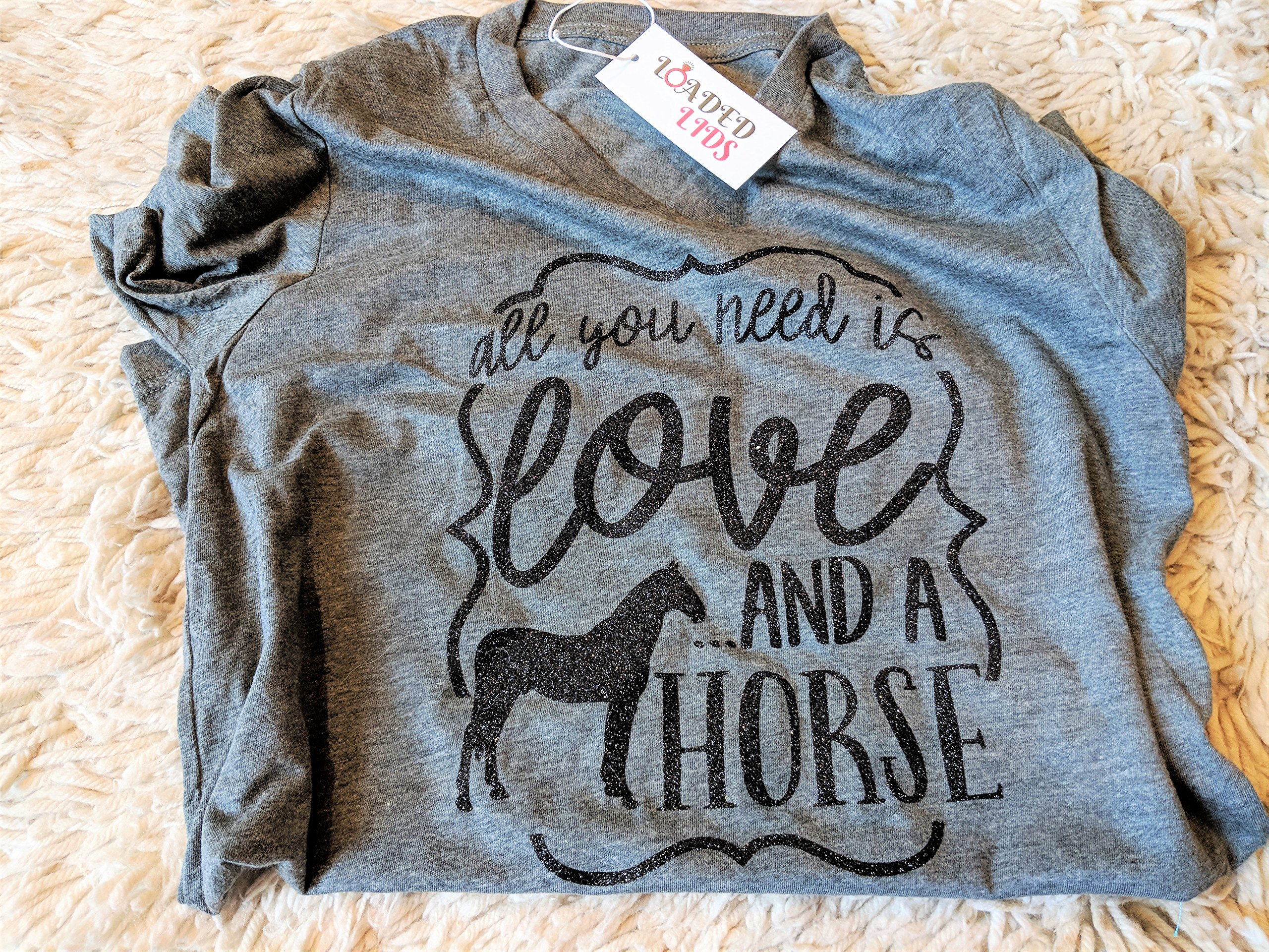 Loaded Lids Women's, Horse, All You Need is Love and a Horse, V Neck T-Shirt (Large, Grey/BlackGlitter) by Loaded Lids (Image #2)