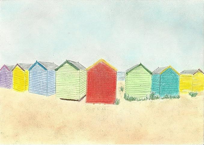Diseño de casetas de playa con colores brillantes Pastel tizas ...