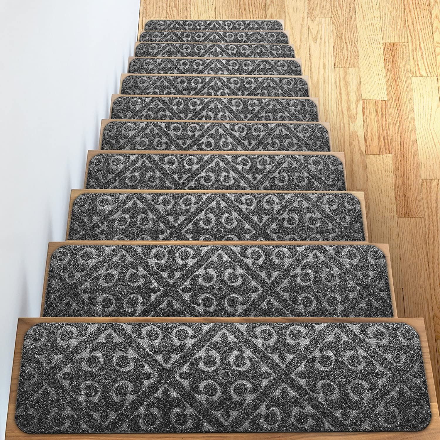 Aucuda Comme Rug Stair Treads with Rubber Backing,Non-Slip,Indoor Outdoor Step treads,Set of 6,Grey Stone Pattern,8.5 x 30