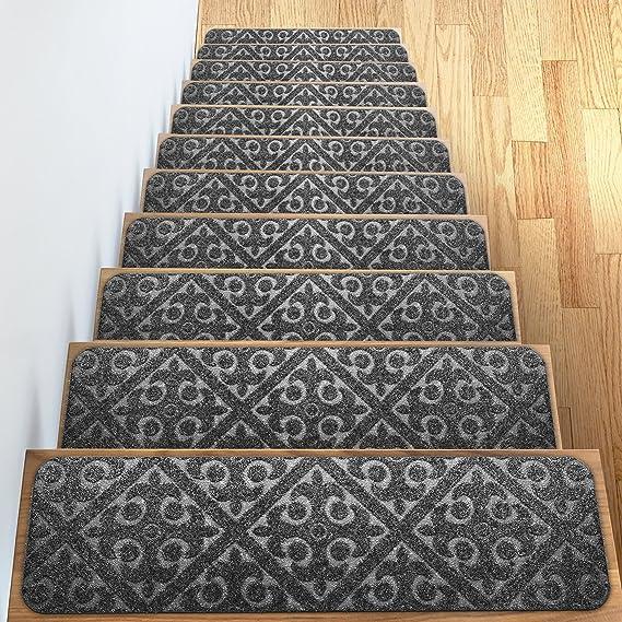 Elogio alfombra – alfombrilla para peldaños Set de 13 antideslizante/antideslizante alfombrillas de goma (o alfombra Tread – interior al aire libre mascota perro – Alfombrilla para peldaños escalera almohadillas – antideslizante alfombra