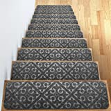 """Elogio Carpet Stair Treads Set of 13 Non Slip/Skid Rubber Runner Mats or Rug Tread - Indoor Outdoor Pet Dog Stair Treads Pads - Non-Slip Stairway Carpet Rugs (Gray) 8"""" x 30"""" Includes Adhesive Tape"""