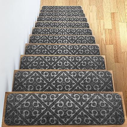 Amazon.com: Carpet Stair Treads Set of 13 Non Slip/Skid Rubber ...