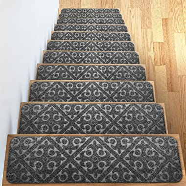 Elogio Carpet Stair Treads Set of 13 Non Slip/Skid Rubber Runner Mats or Rug Tread - Indoor Outdoor Pet Dog Stair Treads Pads - Non-Slip Stairway Carpet Rugs (Gray) 8  x 30  Includes Adhesive Tape