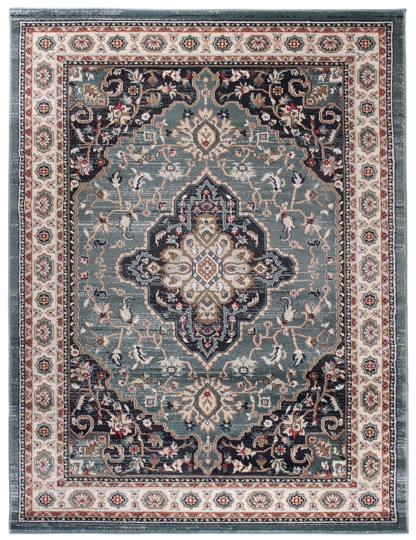 Tapiso Farbeado Teppich Wohnzimmer Klassisch Kurzflor Orientalisch Blau Creme Schwarz Medaillon Ornament Muster Orientteppich ÖKOTEX 140 x 200 cm