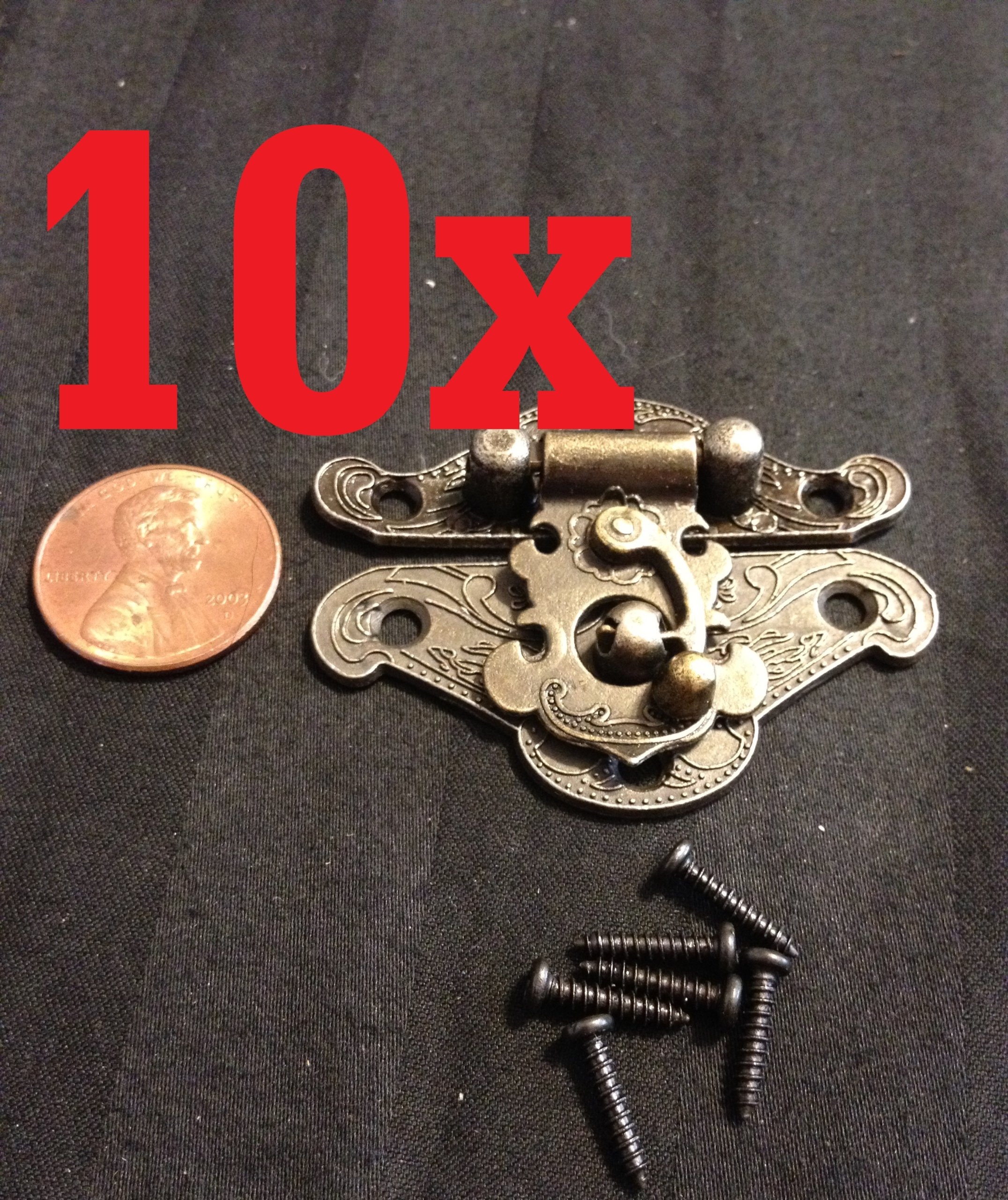 10x Mini Dollhouse Antique Bronze Wood Box Latch Sets Box Case Lock Hinge Small
