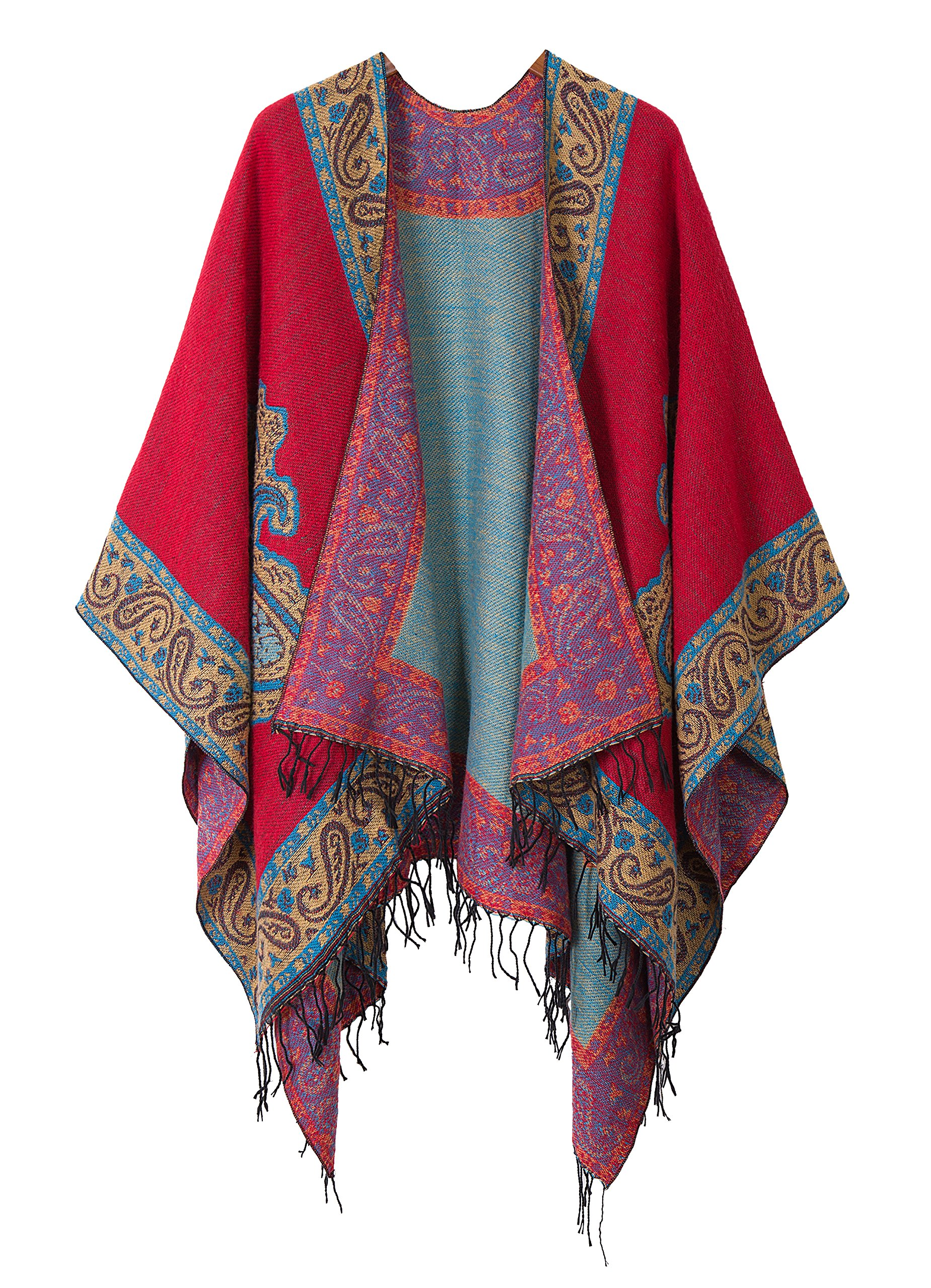 Women's Fashionable Retro Style Vintage Pattern Tassel Poncho Shawl Cape (series 2-Red)