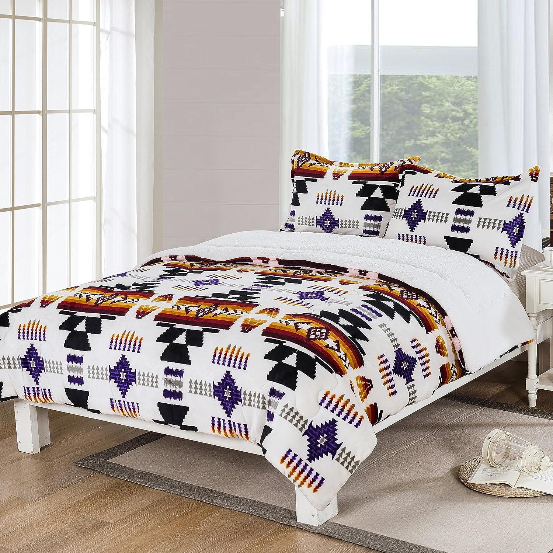 Southwest Design (Navajo Print) Queen Size 3pcs Set 16112 White