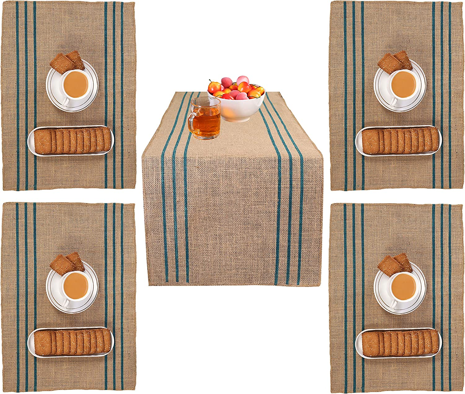 Farmhouse Stripe Burlap Table Runners 14x90 1Pack and 4Pack Jute Placemat 14x19 Natural with Teal Color Printed Stripe Combo Pack,Wedding Jute Table Runner, Decorative Table Runner