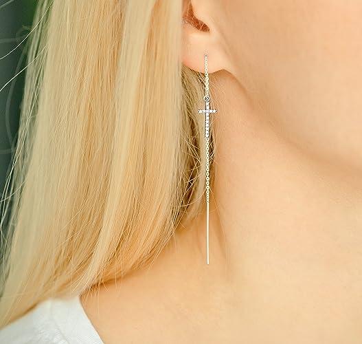 Amazon.com: Threader earrings silver cross, cross earrings ...