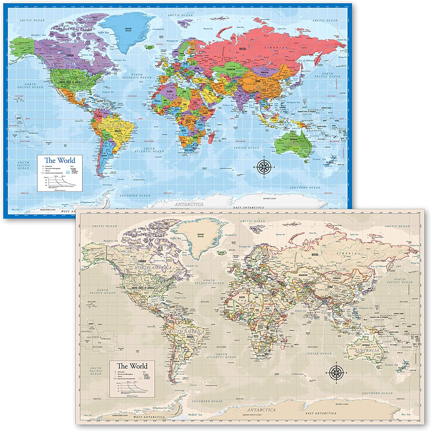 2 Pack - World Map Poster [Blue Ocean] & Antique Style World Map Chart (Laminated, 18
