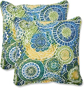 Pillow Perfect Outdoor Omnia Lagoon Throw Pillow, 18.5-Inch, Set of 2