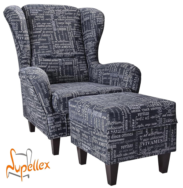supellex ohrensessel fernsehsessel sofia mit hocker dessin carpe diem anthrazit g nstig. Black Bedroom Furniture Sets. Home Design Ideas