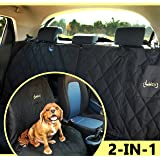 2-in-1 Pet Front Or Back Car Seat Cover Lucy's Dog Seat Cover | 2 Piece Zipper | Waterproof, Scratch Proof, Nonslip, Machine Washable, Dog Hammock Pet Seat Cover for Cars Trucks + Free Cleaning Roller