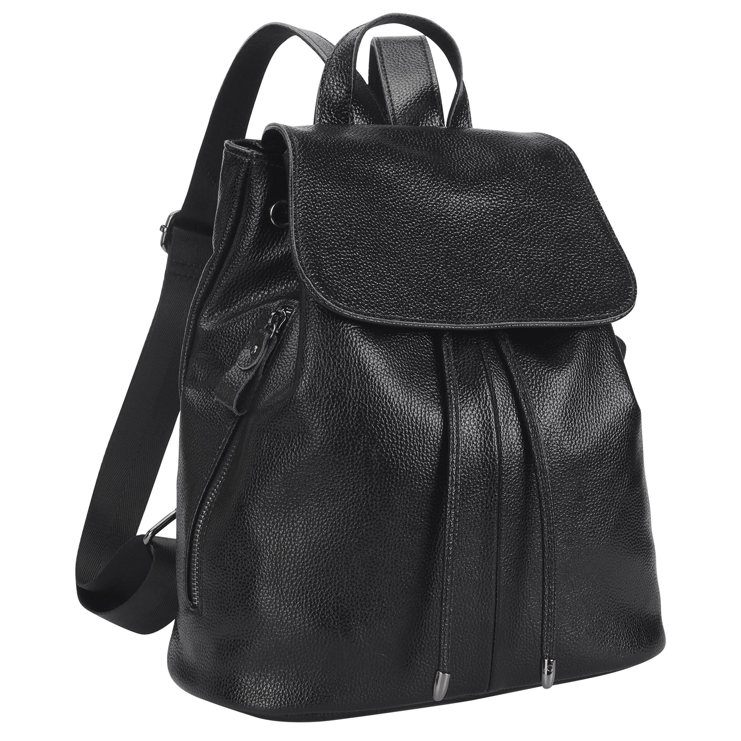 Belle & Lily Valentines Day Gift Black Genuine Pebbled Leather Backpack Purse Casual Daypack for Girls Ladies Women Schoolbag Travelling Shopping (BL02)
