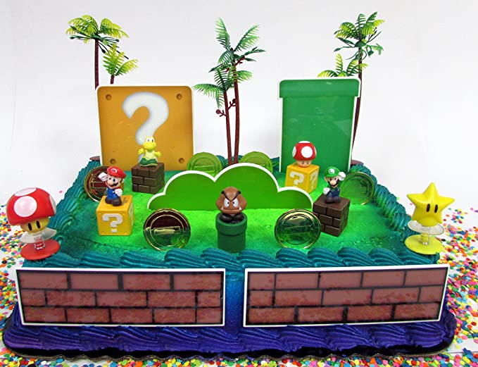 Amazon Mario Brothers Birthday Cake Topper Set Featuring Mario
