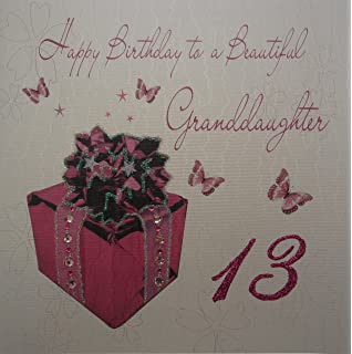 White Cotton Cards 1 Piece Happy Birthday To A Beautiful Granddaughter Extra Large 13th