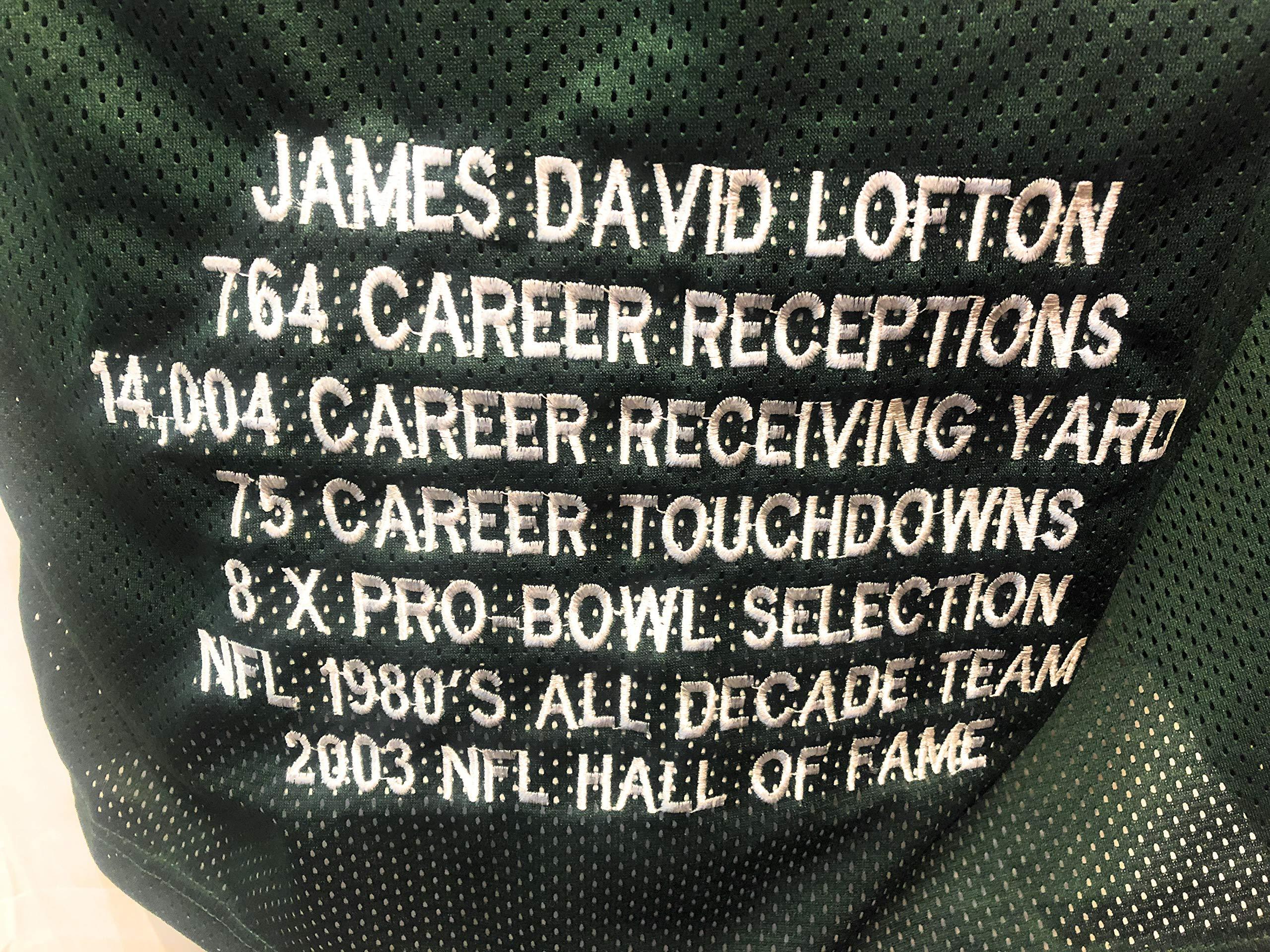 James Lofton Green Bay Packers Signed Autograph Green Custom Jersey HOF Inscribed JSA Witnessed Certified