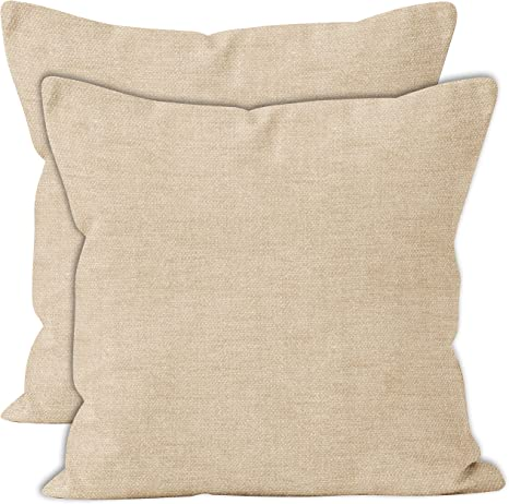 Amazon Com Encasa Homes Chenille Throw Pillow Covers 2 Pcs Set Natural 18 X 18 Inch 45 X 45 Cm Textured Solid Colour Soft Smooth Square Accent Decorative Cushion For
