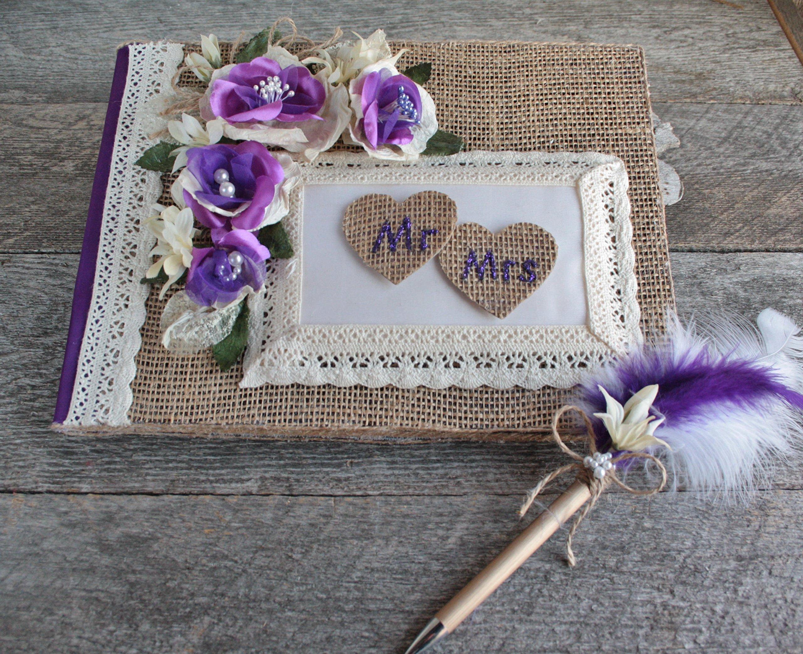 Purple rustique chic wedding guestbook with pen set, Burlap heart MR & MRS guestbook, Farmhouse guestbook pen set, Custom chic guestbook