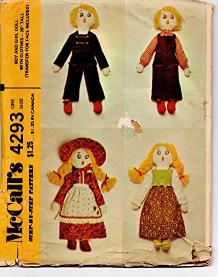 Amazon Mccalls 4293 Boy And Girl Rag Dolls With Clothes Sewing