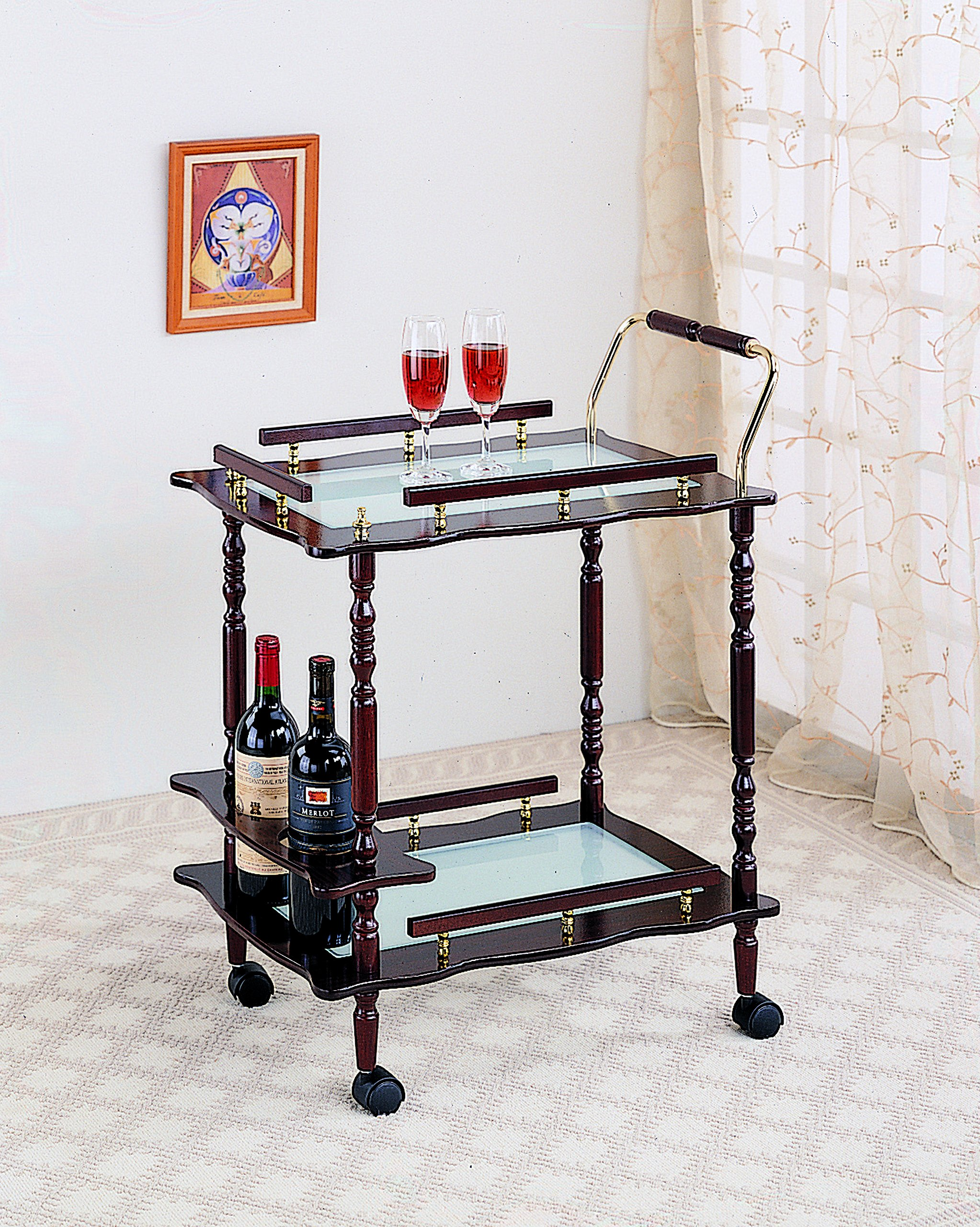 Coaster Traditional Merlot Serving Cart with Frosted Glass Top and Casters